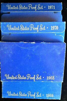 4 Years MINT PROOF Sets- 1968, 1969, 1970, 1971 in Clear Plastic Display Boxes