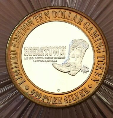 Limited Edition Ten Dollar Gaming Token -Boomtown- 999 Fine Silver