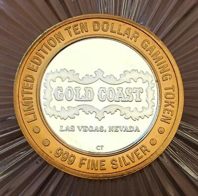 Limited Edition Ten Dollar Gaming Token -Gold Coast- 999 Fine Silver
