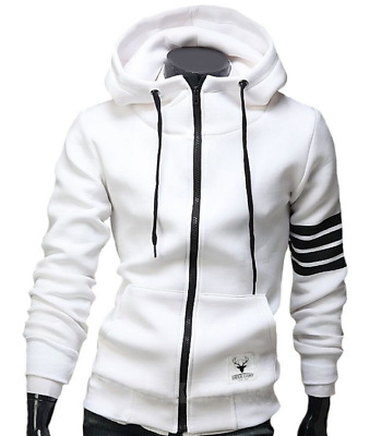 Spring and Autumn Explosion Men's Fashion Hooded Zip Sweater White 2XL