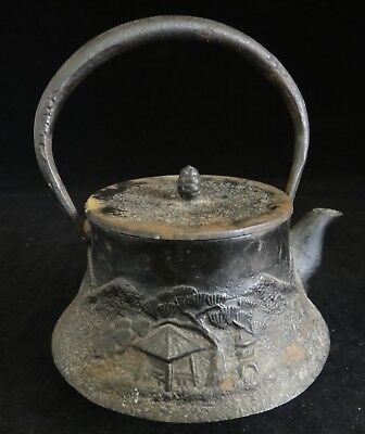 "19th c. Japanese Iron Mini Teapot w/ strainer. 5 ¼"" t. x  4"" wide.  Late Edo/Mei"