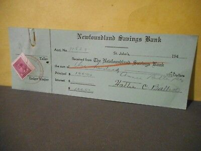 1940s Newfoundland Savings Bank Receipt,Canadian 3 Cent Stamp