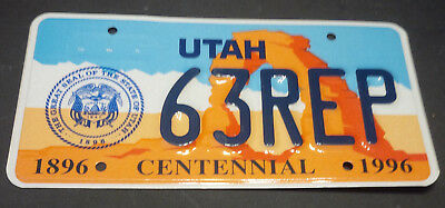 1996 Utah House Of Representatives 63-Rep License Plate