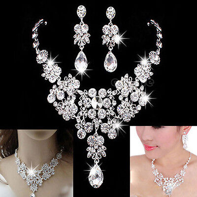 Wedding Bridal Prom Crystal Rhinestone Pendant Necklace Earrings Jewelry Set