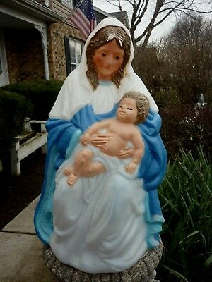 TPI VIRGIN MARY With CHRIST CHILD CHRISTMAS 1997 NATIVITY LIGHTED BLOW MOLD 28""