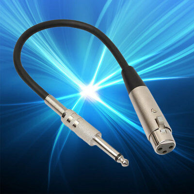 3-Pin XLR Female to 1/4 6.35mm Mono Jack Male-Plug TRS Audio Cable Mic Adapter