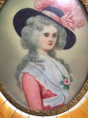 Antique Early 1800's French Hand Painted Miniature Portrait