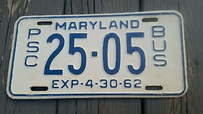 1962 Maryland MD License Plate PSC BUS.