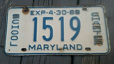 1968 Maryland MD License Plate CHARTER BUS.