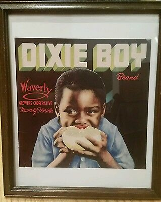 Black Americana Unique Dixie Boy Brand Crate End Framed Florida Mid Century