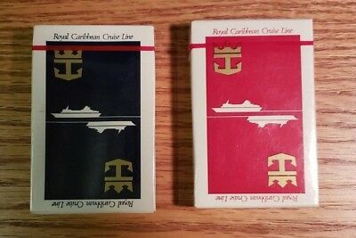 ROYAL CARIBBEAN cruise lines playing cards x2 - VINTAGE sealed NEW Blue and Red