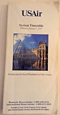 USAir System Airline Timetable January 7, 1997 US Air US Airways