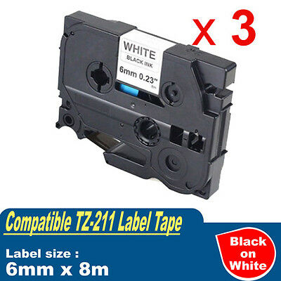 3x Label Tapes TZ211 for Brother P-touch PT1280/1650/2030/2300/2430/2700/3600