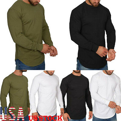 US Men's Slim Fit O-Neck Long Sleeve Muscle Tee T-shirt Casual Top Cotton Shirts