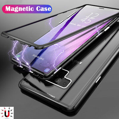 For Samsung Galaxy Note 9 8 S9Plus Magnetic Adsorption Tempered Glass Case Cover