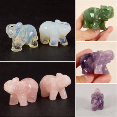 Natural Stone Animal Hand Carved Crystal Jade Figurine Articles Gem Statue Decor