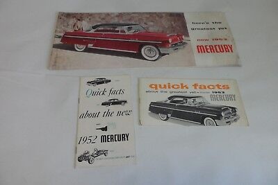 Lot of 3 1952 1953 Mercury Monterey Sport Coupe Dealer Brochures