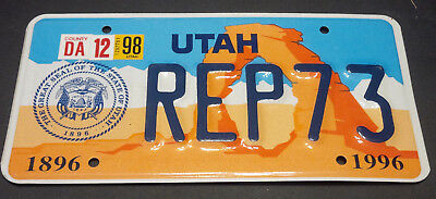 1998 Utah House Of Representatives Rep-73 License Plate