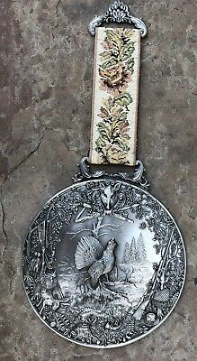 Wall Hanging Plaque GERMAN COUNTRY SCENIC with Rooster 97% Zinn Pewter