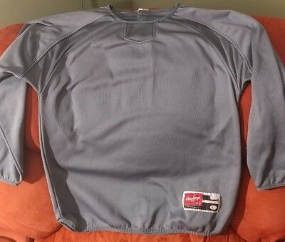 Rawlings UDFP2 Youth Large Fleece Pullover Baseball Crew Sweatshirt YL Graphite