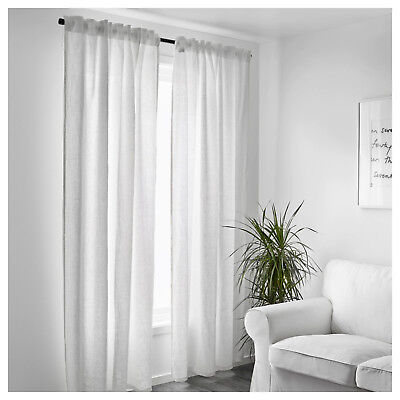 IKEA WHITE CURTAINS Bedroom Window Living Room Linen Sheer ...