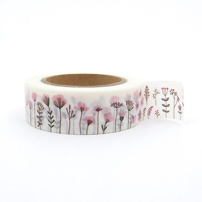 Flower Garden Washi Tape Floral Pink Poppies 15mm x 10m
