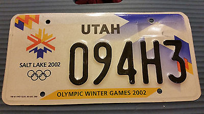 2002 Utah 094H3 Olympic Winter Games License Plate