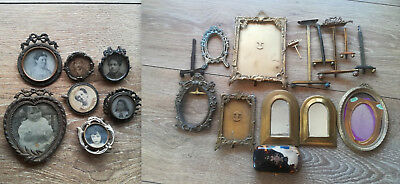 Lot of Antique Vintage French Photo Picture Frames,Pin Brooches & Mirrors