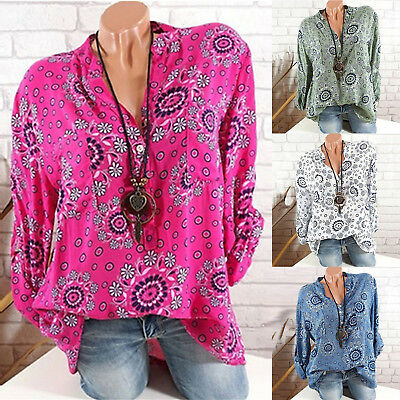 Plus Size Womens Summer Blouse Tunic Shirt Roll Tab Long Sleeve Floral Printed