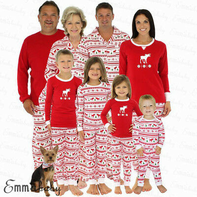 AU Family Matching Christmas Pajamas PJs Set Xmas Sleepwear Nightwear Tops+Pants