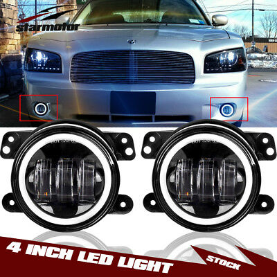"""2Pcs 4""""Inch Total 60W Led Fog Light with White Halo Ring For 05-08 Dodge Magnum"""