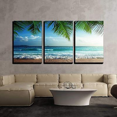 "Wall26 - sunset on Seychelles beach - Canvas Art Wall Decor - 16""x24""x3 Panels"
