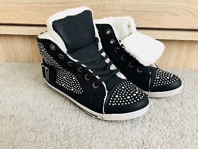 Black Shoes Trainers Boots Size 5 Crystals