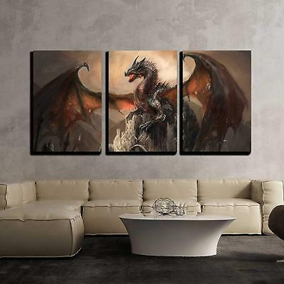 """Wall26 - War with the Dragon on Castle - Canvas Wall Art Decor- 16""""x24""""x3 Panels"""