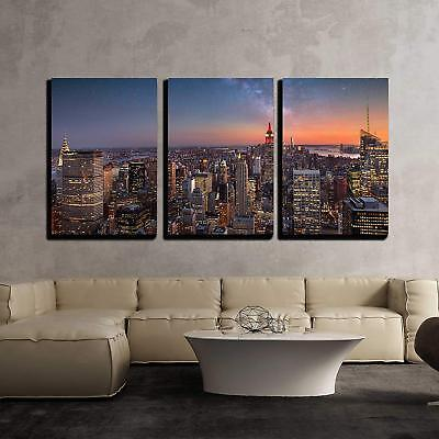 "Wall26 - Milky Way over Manhattan New York City - CVS - 24""x36""x3 Panels"