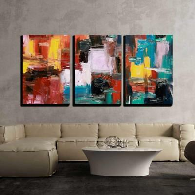 """Wall26 - Abstract Painting - Canvas Art Wall Home Decor - 24""""x36""""x3 Panels"""