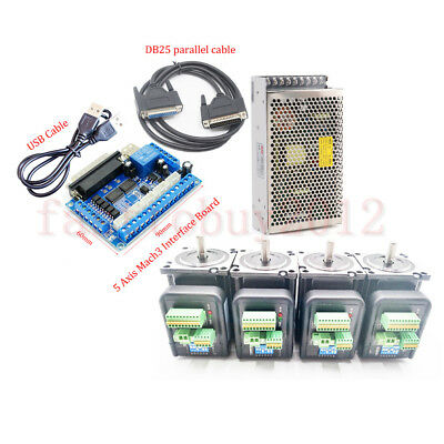 Stepper Motor 2NM CNC Integrate Nema23 Drive& 5Axis Breakout Board& Power Supply