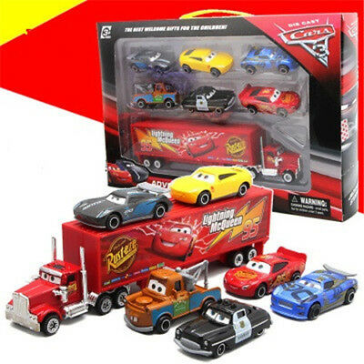 Cars 2 Lightning McQueen Racer Car&Mack Truck Kids Toy Collection Set Gifts 7PCS
