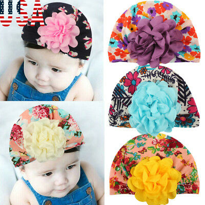 US Newborn Baby Infant Girl Toddler Comfy Flower Hospital Caps Warm Beanie Hat