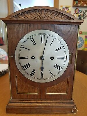 Antique Double Fusee Bracket Clock with Oak case inlaid with brass