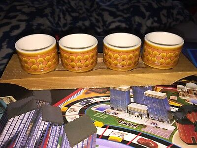 Vintage Hornsea Saffron 4 Egg Cups With Wooden Tray Stand