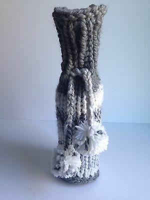 NEW Handmade Knit Crochet Wine Bottle Cover Sleeve Nordic Rustic GREY/WHITE