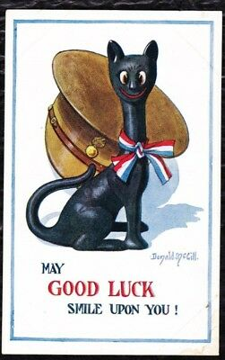 """Wwi Patriotic Donald Mcgill Art Postcard - Unposted - """"may Good Luck Smile On!"""""""