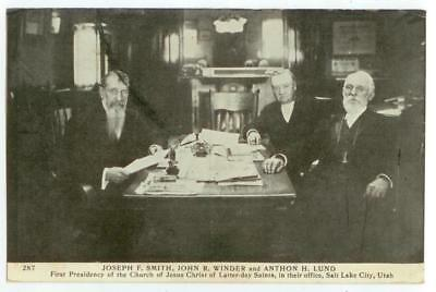 1909 postcard - Mormon leaders Joseph F Smith, John R Winder, Anthon H Lund