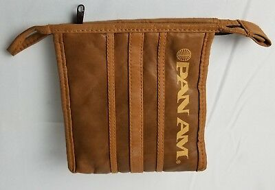 PAN AM AIRLINES Vintage ORIGINAL Leather Carry Travel Bag 1960's First Class