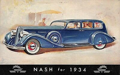 Nash Automobile for 1934, in blue color on post card