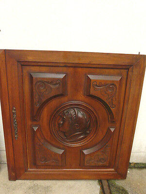 French  Antique Carved Heads Architectural Panel Door Walnut Wood /2
