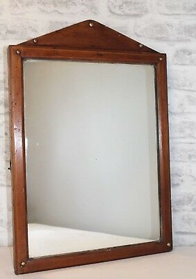 Solid wood vintage arched top metal stud detail mirror EXCELLENT CONDITION