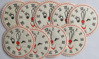 New Year's paper coasters Lot of 9 Winking clock embossed Hallmark vtg