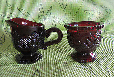 Vintage~Avon~Cape Cod~Ruby Red Glass~SUGAR AND CREAMER~ VERY NICE!